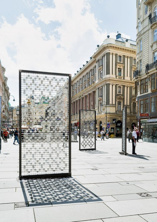 »Screen I–III«,       2016<br />      Cobblestones, steel frames, stainless steel grid, 310 x 150 x 15 cm,        Installation, Kunstplatz Graben, Vienna, Austria, 2016 (Photo by Iris Ranziger)<br />      Screen I–III