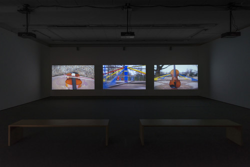 <i>Traces</i>,       2015<br />      3-channel video installation, HD video, each audio channel mono, each film 6 min,       <br />      Installation view, Wentrup, Berlin, Germany, 2015