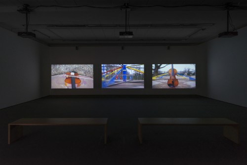 »Traces«, 2015<br />3-channel video installation, HD video, each audio channel mono, each film 6 min<br />Installation view, Wentrup, Berlin, Germany, 2015