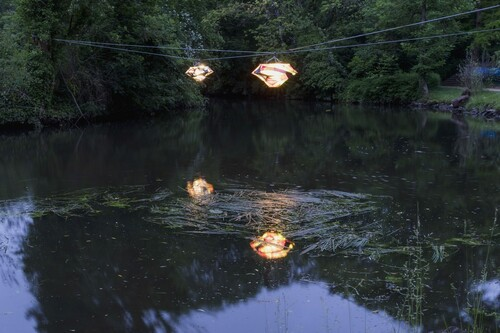 <i>Color Floating 1 & Color Floating 2</i>,       2020<br />      Various metals, colored nylon stockings, LED wire,       <br />      Installation view 'Lichtparcours', Braunschweig, Germany, 2020