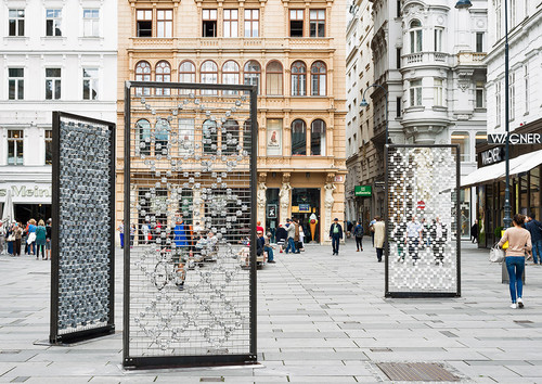 <i>Screen I–III</i>,       2016<br />      Cobblestones, steel frames, stainless steel grid; 310 x 150 x 15 cm,        Installation, Kunstplatz Graben, Vienna, Austria, 2016 (Photo by Iris Ranziger)<br />