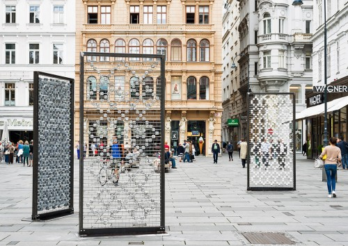 »Screen I–III«, 2016<br />Cobblestones, steel frames, stainless steel grid; 310 x 150 x 15 cm, Installation, Kunstplatz Graben, Vienna, Austria, 2016 (Photo by Iris Ranziger)<br />