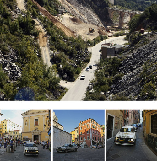 <i>Rallye</i>,      2010<br />      Video,        6:20 min, Performance duration 3 hours<br />      Three professional racing cars drive through the quarry and the city center of Carrara in walking speed for approximately three hours.