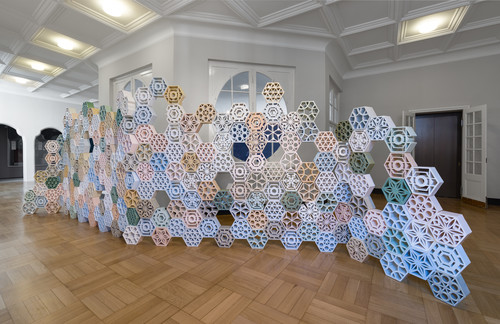 <i>Jali</i>,       <br />      glazed ceramics,        220 x 650 x 14 cm<br />      Installation view: documenta 14  Kassel, Germany and Athens, Greece