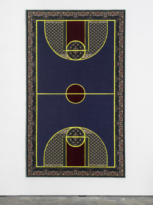 "<i>Pattern Matching Blue</i>,       2010<br />      Kilims from Afghanistan, Iran and Turkey; hand-woven carpets from Iraq and India & industrially knotted carpets from Germany and China,        256 x 150 cm<br />      ""Pattern Matching"" brings together the seemingly disparate subjects of basketball, the famous American athletic export, and Oriental carpets, probably the most successful commercial product in the world that originates from the Middle East. Setting differences aside, lets consider these two incommensurable categories—the game and the object of everyday use—as two cultural expressions, in order to make the matching of their respective patterns possible and productive. Aladağ densely filled her carpets with a collage of ornamentation while respecting the lines and color fields that define the borders and mark important points on a basketball court. The artist proposes that we consider such patterns in the widest possible sense, going beyond their visual appearance: thus, they conjure conflicting patterns of behavior, opposing lifestyles and mutually exclusive rules that give shape to social and political realities of our supposedly globalized world and its distinctly local manifestations.