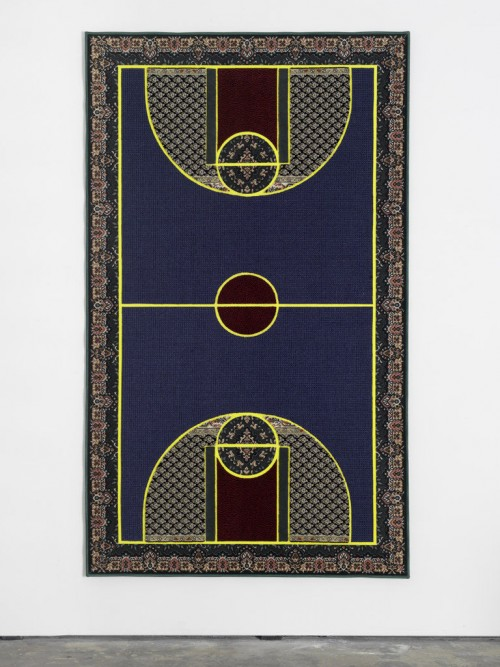 "»Pattern Matching Blue«, 2010<br />Kilims from Afghanistan, Iran and Turkey; hand-woven carpets from Iraq and India & industrially knotted carpets from Germany and China, 256 x 150 cm<br />""Pattern Matching"" brings together the seemingly disparate subjects of basketball, the famous American athletic export, and Oriental carpets, probably the most successful commercial product in the world that originates from the Middle East. Setting differences aside, lets consider these two incommensurable categories—the game and the object of everyday use—as two cultural expressions, in order to make the matching of their respective patterns possible and productive. Aladağ densely filled her carpets with a collage of ornamentation while respecting the lines and color fields that define the borders and mark important points on a basketball court. The artist proposes that we consider such patterns in the widest possible sense, going beyond their visual appearance: thus, they conjure conflicting patterns of behavior, opposing lifestyles and mutually exclusive rules that give shape to social and political realities of our supposedly globalized world and its distinctly local manifestations.
