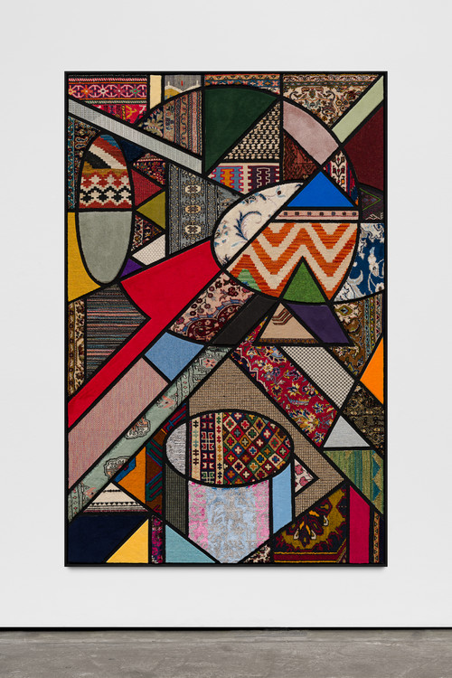 <i>Social Fabric, Resonator</i>,       2019<br />      carpet pieces on wood,        172 x 112 x 5 cm<br />
