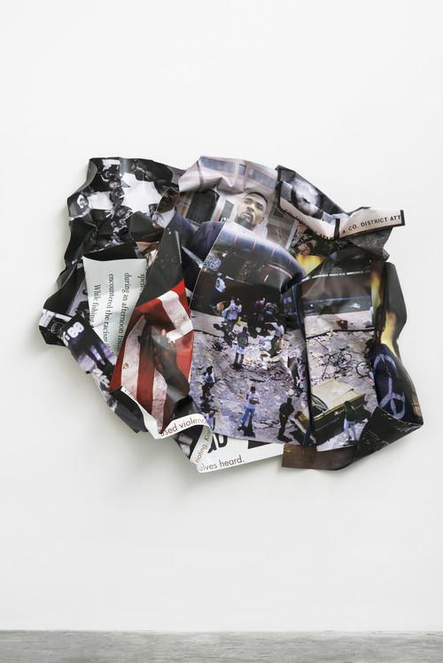 <i>L.A. Riots (Rodney King)</i>,       2014<br />      aluminium, stainless steel, digital print,        185 x 217 x 35 cm<br />