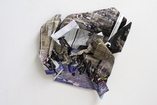 »Mellila«, 2015<br />aluminium, stainless steel, digital print, 170 x 170 x 60 cm<br />