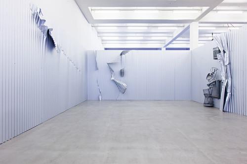 <i>Sammelstelle</i>,       1992<br />      corrugated iron, steel, aluminium,        dimensions variable<br />      Installation view Kunstverein Hamburg, Germany, 2013, Photo: Kunstverein Hamburg / Fred Dott
