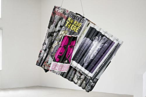 <i>King Kong Theorie</i>,       2019<br />      aluminium, stainless steel, digital print,        235 x 220 x 100 cm<br />