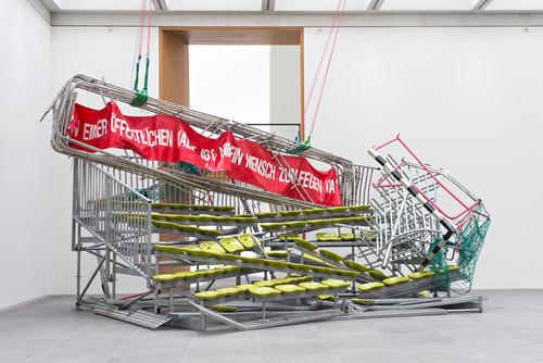 <i>Auf Wiedersehen</i>,       1996<br />      aluminium, steel, plastic, PVC-foil,        370 x 650 x 620 cm<br />      Exhibition view at Neues Museum, Nuremberg, Germany, 2015