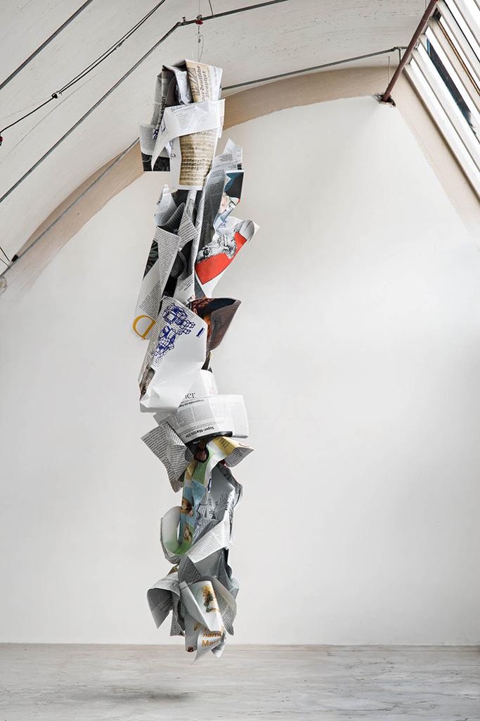 <i>Luther rauf und runter</i>,       2017<br />      aluminium, stainless steel, digital print,       <br />