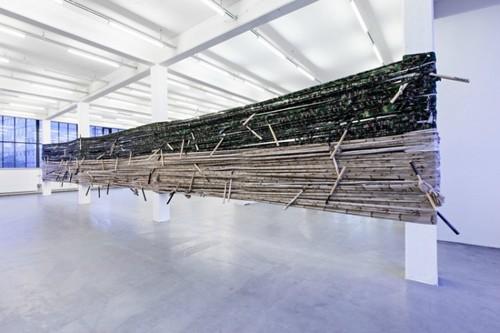 <i>Noch Fragen?</i>,       1998<br />      camouflage material, baseball bats,        dimensions variable<br />      Installation view Kunstverein Hamburg, Germany, 2013, Photo: Kunstverein Hamburg / Fred Dott