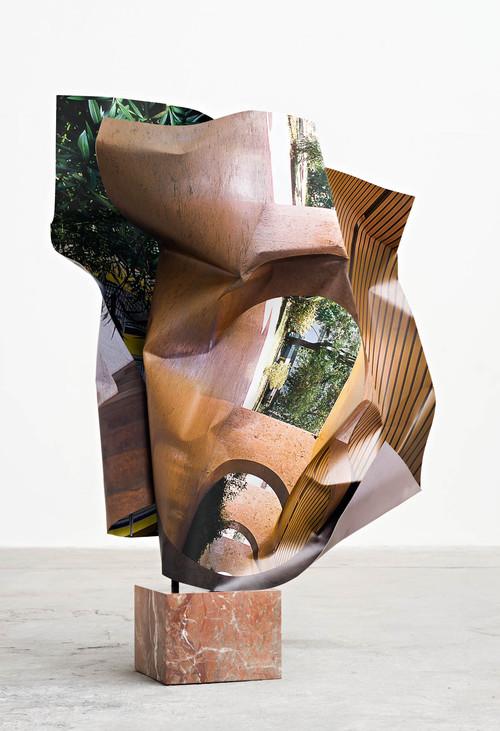 <i>Lúcio Costa (1)</i>,       2016<br />      aluminium, stainless steel, digital print, red marble,        150 x 105 x 70 cm<br />