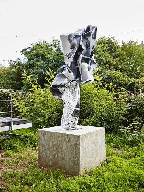 <i>Kafka usw.</i>,       2016<br />      aluminium, stainless steel, digital print, persian granite,        240 x 100 x 100 cm<br />      Installation view Sammlung Philara, Düsseldorf, Germany, 2018