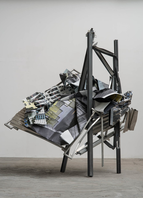 <i>Plattenbau</i>,       2016<br />      aluminium, stainless steel, digital print,        303 x 275 x 205 cm<br />