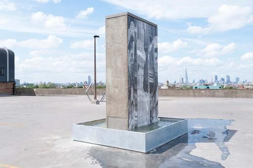 »FOUNTAIN I«, 2012<br />concrete, wood, ceramics, zinc, pump, water, 350 x 250 x 280 cm<br />Installation view Bold Tendencies, London, Great Britain, 2012