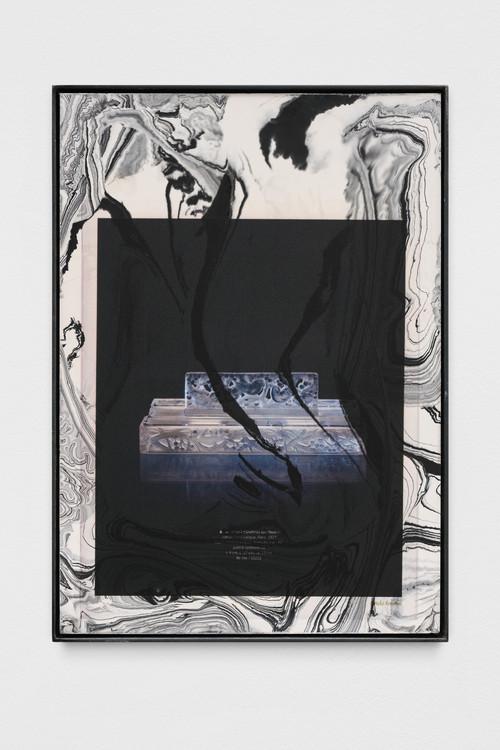 »artele focului (pandora)«,       2019<br />      print on pigmented jesmonite, steel frame,        42 x 30 x 2 cm<br />
