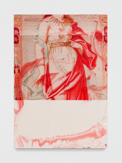 »CLEOPATRE 8«,       2019<br />      paint and print on pigmented jesmonite,        70 x 49 x 3 cm<br />