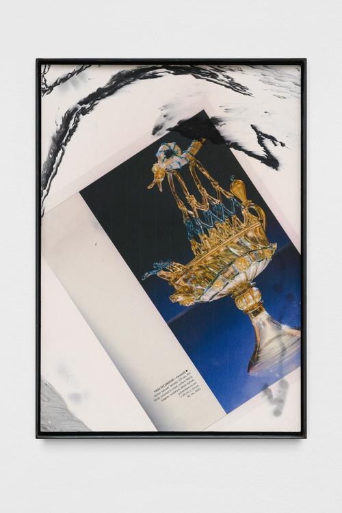 »artele focului (ship)«,       2019<br />      print on pigmented jesmonite, steel frame,        42 x 30 x 2 cm<br />
