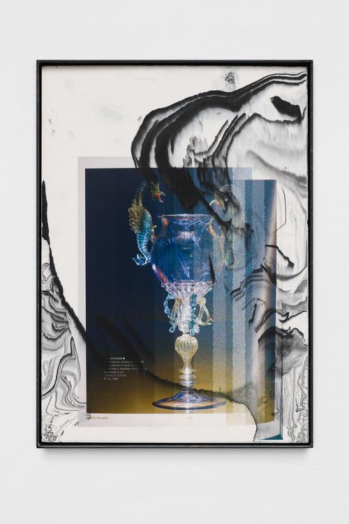 »artele focului (seahorse)«,       2019<br />      print on pigmented jesmonite, steel frame,        42 x 30 x 2 cm<br />