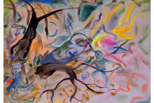 <i>Ilden Woods</i>,       2019<br />      acrylic on canvas,        230 x 320<br />