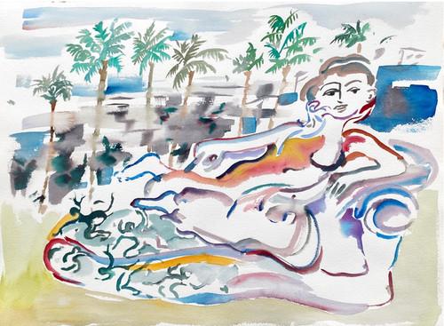 <i>LA Lady</i>,       2020<br />      watercolour on paper,        56 x 76 cm<br />