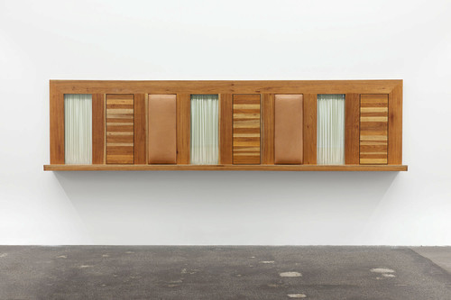 <i>Untitled</i>,       1990<br />      wood, glass, leather, fabric,        112 x 450 x 35 cm<br />