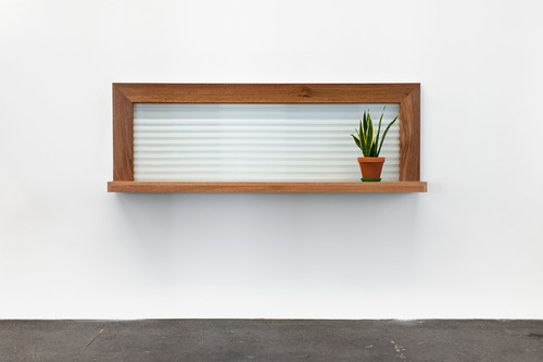 <i>Dr. Pauly</i>,       1997<br />      wood, glass, plant,        70 x 230 x 35 cm<br />