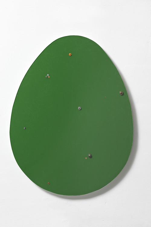 <i>Untitled (egg / dark green)</i>,       2016<br />      epoxy, glass on wood,        140 x 109 x 7 cm<br />