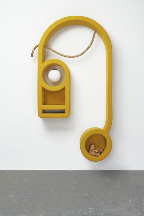 <i>jene 4</i>,       2019<br />      wood, foam, upholstery fabric, sphere lamp, logs, hemp ropes, rubber,        272 x 138 x 40 cm<br />