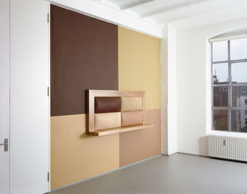 <i>Untitled</i>,       1993<br />      wood, leather, wallpainting,        98 x 210 x 35 cm (shelf)<br />