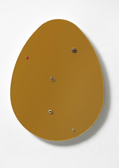 <i>Untitled (egg / dark ochre)</i>,       2016<br />      epoxy, glass on wood,        72 x 56 x 7 cm<br />