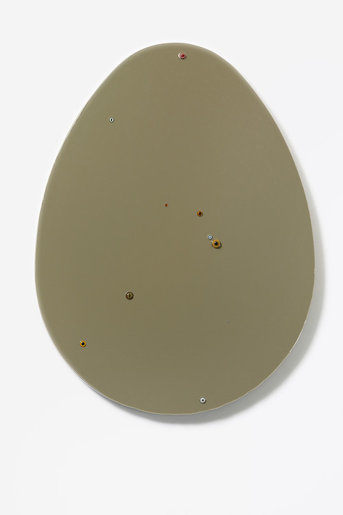 <i>Untitled (egg / greenish-brown)</i>,       2015<br />      epoxy, glass on wood,        140 x 109 x 7 cm<br />