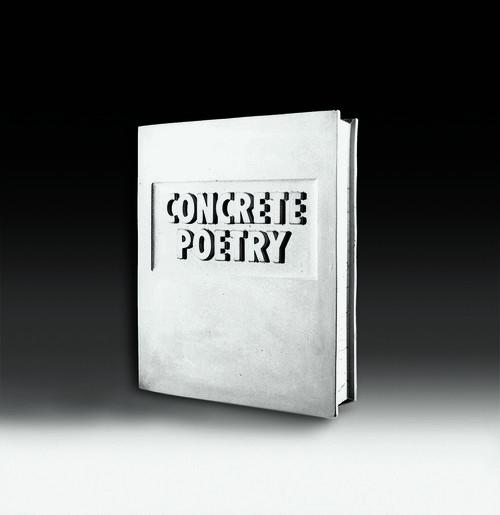 <i>Concrete Poetry (Beton Buch)</i>,       1972/1977<br />      concrete,        30 x 25 x 6.5 cm<br />