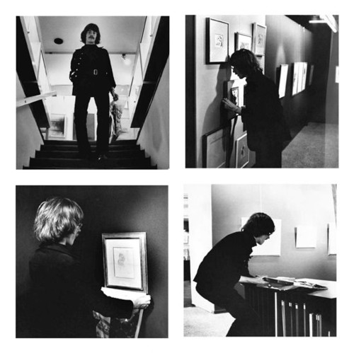 <i>Kunstdiebstahl als Totalkunst-Demonstration</i>,       1961<br />      Art Burglary as 'Totalkunst'-Demonstration, 1969 (Advertisment) / 1970 (Form) / 1971 (Action), 4 black/white photographs,        each 50,2 x 50,2 cm, and 2 copies of the form and textsheet, each 21 x 29,7 cm as documentation of the action on 11/08/1971 in the Brusberg gallery, Hannover.<br />