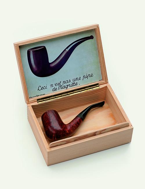 <i>Ceci nést pas une pipe de Magritte</i>,       1968<br />      wooden case, reproduction of Magrittes painting La trahison des images (Ceci nést pas une pipe), pipe,        6 x 17 x 12 cm<br />