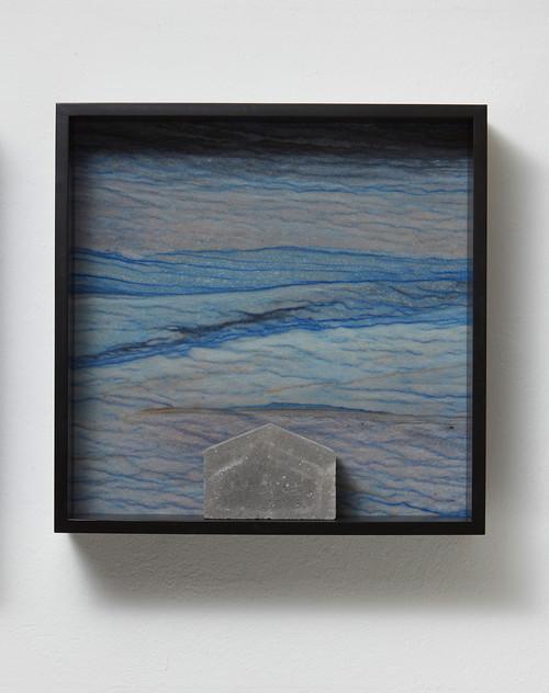 <i>Versteinerter Himmel XVII, (Petrified Sky XVII)</i>,       1983/2015<br />      Granite, marble, MDF, concrete cobblestone,        60 x 60 x 15 cm<br />