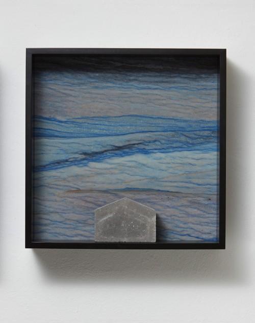 »Versteinerter Himmel XVII, (Petrified Sky XVII)«, 1983-2015<br />Granite, marble, MDF, concrete cobblestone, 60 x 60 x 15 cm<br />