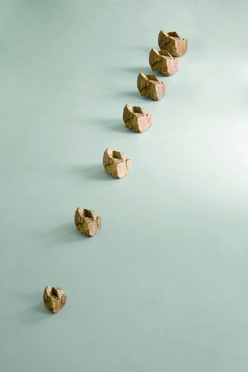 <i>wachsender Stein (growing stone)</i>,       2008/2012<br />      quartzite, bronze,        dimensions variable<br />      photo: H. Felix Gross