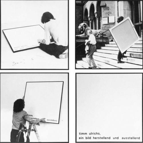 »Timm Ulrichs, ein Bild herstellend und ausstellend (5-8)«, <br />7 black /white photographs on canvas, one white painted canvas with sticky letters, 102 x 102 cm<br />How to Make a Painting (1967/73)