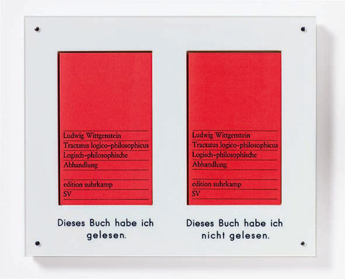 """<i>Dieses Buch habe ich gelesen - Dieses Buch habe ich nicht gelesen</i>,       1970<br />             <br />      This book I have read – this book I haven't read. 2 copies of the book Tractatus logico-philosophicus. Logisch-Philosophische Abhandlung by Ludwig Wittgenstein. Before"""" and after: explaining the identical and the similar, or """"content"""" (the text) and """"form"""" (the book)"""