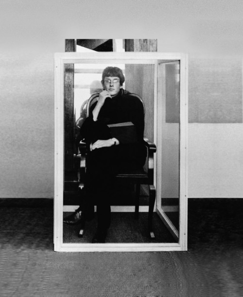 <i>Timm Ulrichs, first living work of art (exhibiting himself)</i>,       1961<br />             <br />