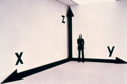 <i>Raum-Koordinaten-Raum</i>,       1973/75<br />      paint, adhesive foil,        dimensions variable<br />      installation view LWL – Landesmuseum für Kunst und Kultur, Münster, Germany, 1975