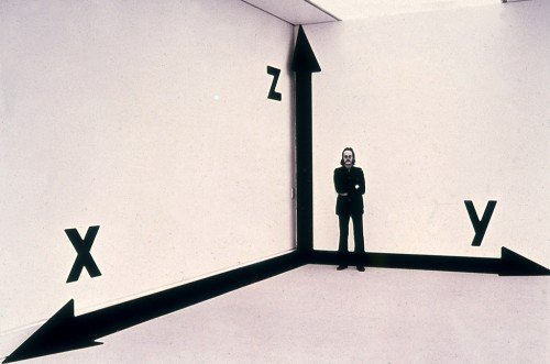 »Raum-Koordinaten-Raum«, 1973/75<br />paint, adhesive foil, dimensions variable<br />installation view LWL – Landesmuseum für Kunst und Kultur, Münster, Germany, 1975