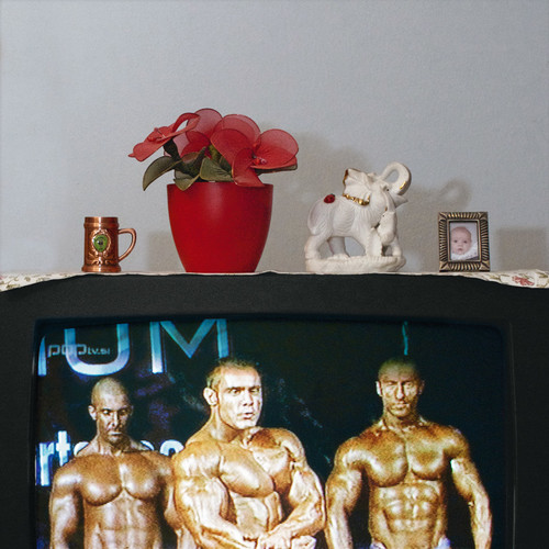 <i>Die Welt im Wohnzimmer: Das Fernsehgerät als Sockel und Hausaltar (The World at Home. The TV as plinth and house altar)</i>,       2001/09<br />      Series of 50 color photographies,        52 x 52 cm<br />