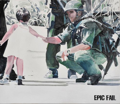 <i>EPIC FAIL</i>,       2012<br />      watercolor on canvas,        74 x 85 cm<br />
