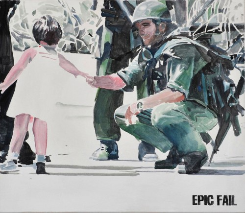 »EPIC FAIL«, 2012<br />watercolor on canvas, 74 x 85 cm<br />