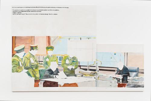 <i>Composite</i>,       2013<br />      Acrylic on canvas,        2 parts: 110 x 110cm 200 x 200cm<br />